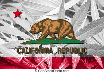 California State Flag on cannabis background. Drug policy....