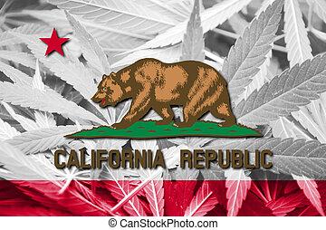 california, stato, bandiera, su, canapa, fondo., droga,...