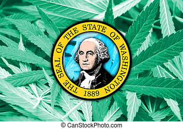 Washington State Flag on cannabis background. Drug policy....