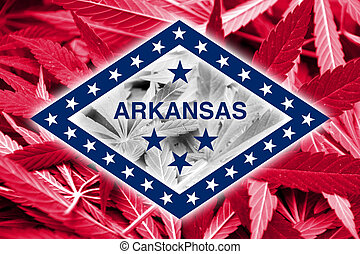 Arkansas State Flag on cannabis background. Drug policy....