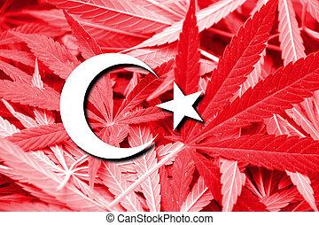 Turkey Flag on cannabis background. Drug policy....