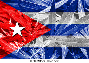 Cuba Flag on cannabis background. Drug policy. Legalization...