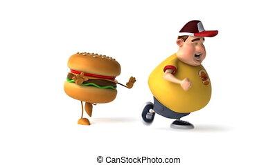 Fat kid and hamburger