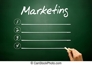 Hand drawn MARKETING blank list concept on blackboard