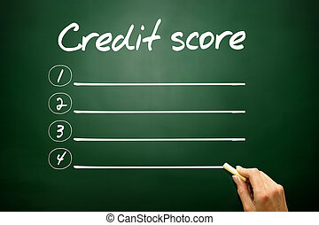 Hand drawn Credit score blank list concept on blackboard