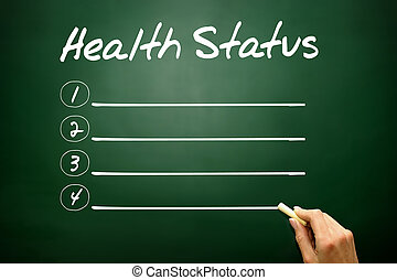 Hand drawn Health Status blank list, business concept on...