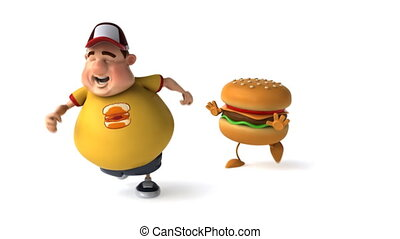Fat kid and hamburger
