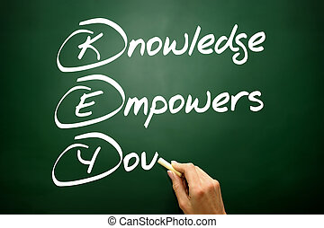 Hand drawn Knowledge Empowers You (KEY), business concept on...