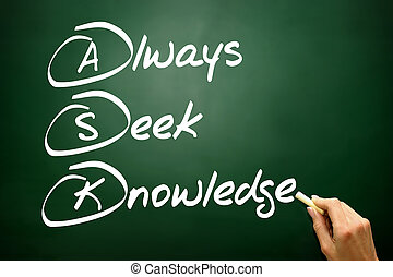 Hand drawn Always Seek Knowledge (ASK), business concept on blac