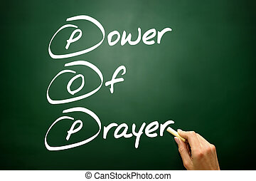 Hand drawn Power Of Prayer (POP), business concept on blackboard