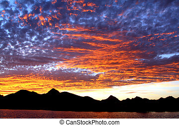 Sky Blue sunset - Tucson Mountain Sunset