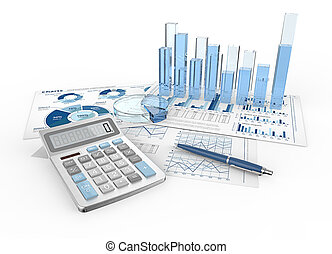 Financial Reports - Abstract infographics documents and 3D...
