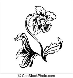 Flowers narcissus. Black outline on white background, vector...