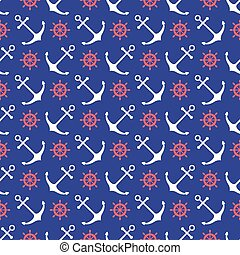 Seamless nautical pattern with anchors and ship wheels....