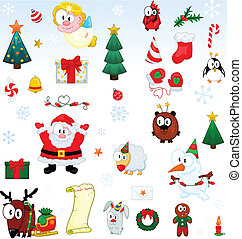 Christmas symbols collection - The collection of cartoon...