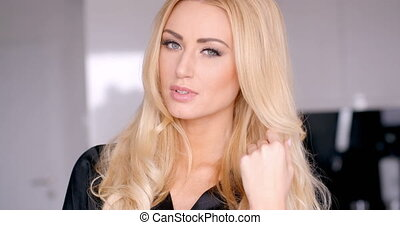 Close up Seductive Woman Touching her Blond Hair - Close up...