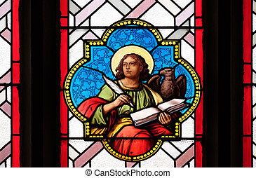 Saint John the Evangelist, stained glass window in Parish...