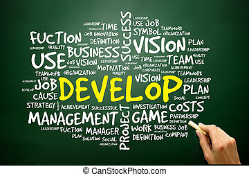 Hand drawn Word cloud of DEVELOP related items, business...