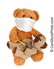 Health service - Picture of a teddy bear with a on isolated...