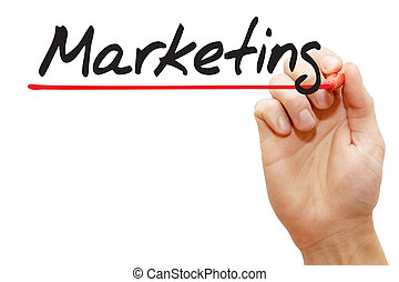 Hand writing Marketing, business concept - Hand writing...