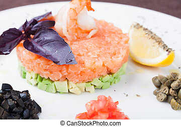 Salmon tartar - tartar salad with salmon and avocado