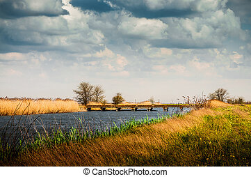 Rural summer landscape before the storm