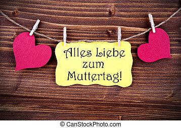 amarillo, etiqueta, con, Alles, liebe, Zum, Muttertag,