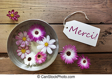 Silver Bowl With Cosmea Blossoms With Text Merci - Silver...