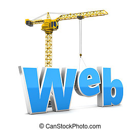 web building - abstract 3d illustration of crane building...