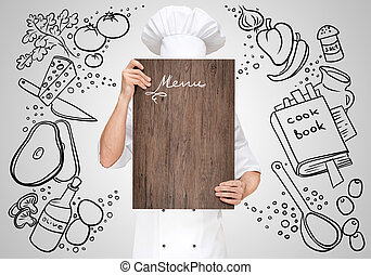 Menu template - Restaurant chef on a sketchy background...