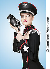 Military uniform - Glamorous girl, dressed in a military...