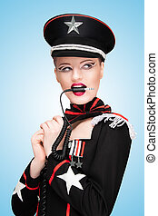Sexy and severe. - Sexy girl, dressed in a military uniform...