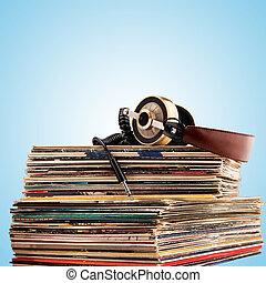 auriculares, y, vinilo, records.,