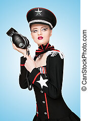 Military uniform. - Glamorous girl, dressed in a military...