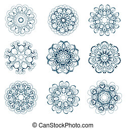 snowflakes set - illustration of abstract floral and...