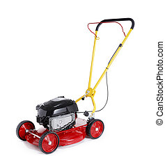 Retro Lawn Mower - New red retro styled lawn mower isolated...