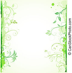 Floral Decorative background - illustration of green styled...