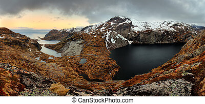 Mountain panorama in Norway, Lofoten - Moskenesoya