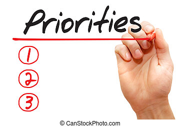 Hand writing Priorities List, business concept - Hand...