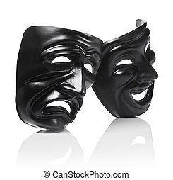 Sadness and Joy - Generic plastic masks as theatrical...