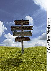 madeira, coluna, sinal