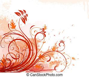 Grunge Floral Background - illustration of orange Grunge...