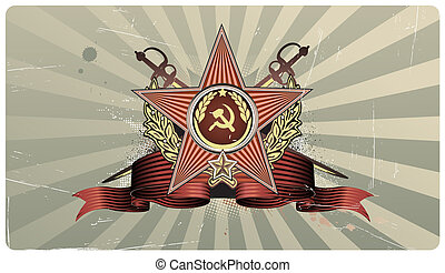 heart shape - illustration of sovietic star shaped Insignia...