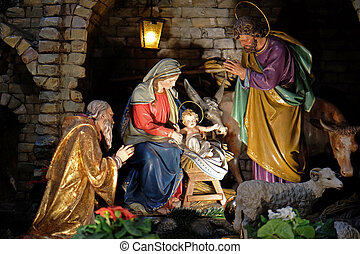 Nativity scene, creche, or crib, birth of Jesus in...