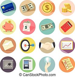 Vector business flat icon set