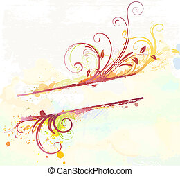 Floral Decorative banner - illustration of Grunge styled...