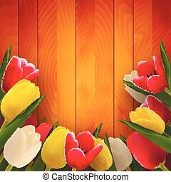 Tulips on boards - Tulips on wooden boards, vector art...