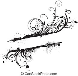Floral Decorative banner - illustration of Grunge black...