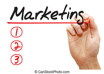 Hand writing Marketing List, business concept - Hand writing...