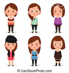 Women avatars in different outfits - A vector illustration...